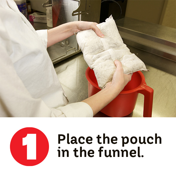 Step 1. Place the pouch n the funnel.